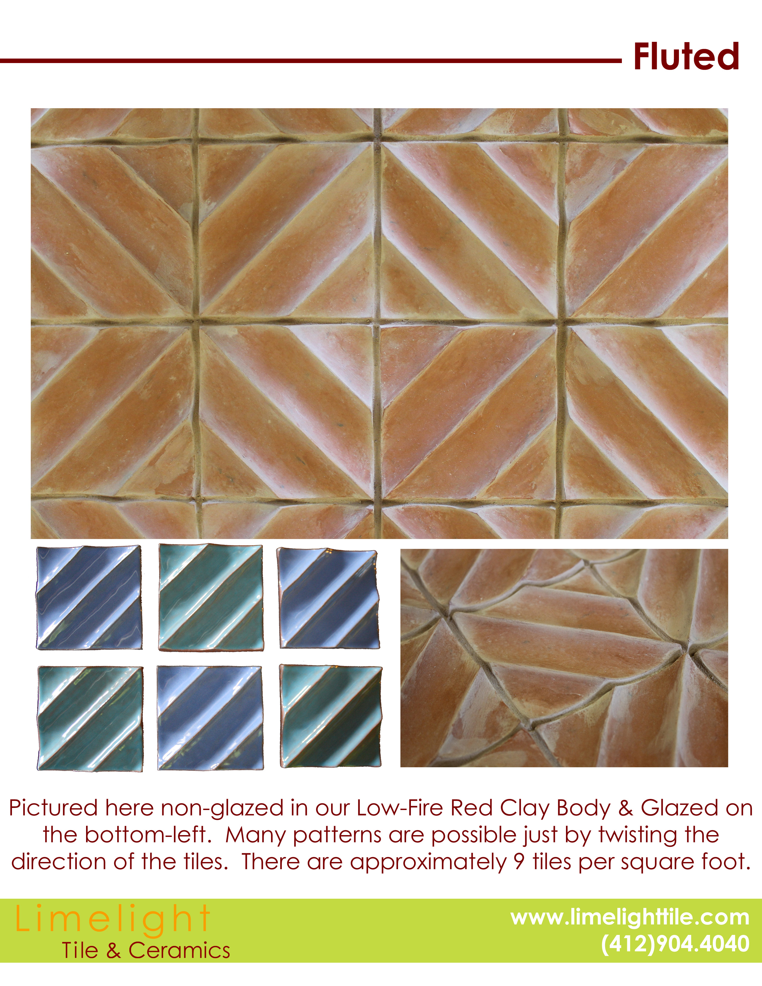 Personalize Our Ceramic Tile Patterns Fluted Limelighttile